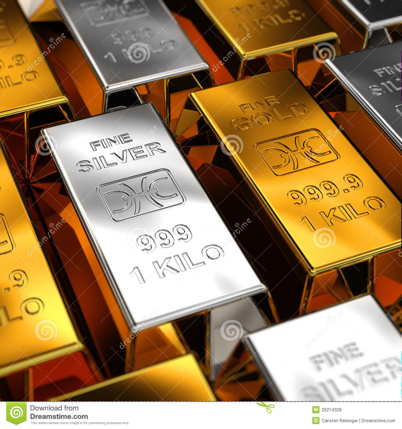 gold and silver bars royalty free stock photos image