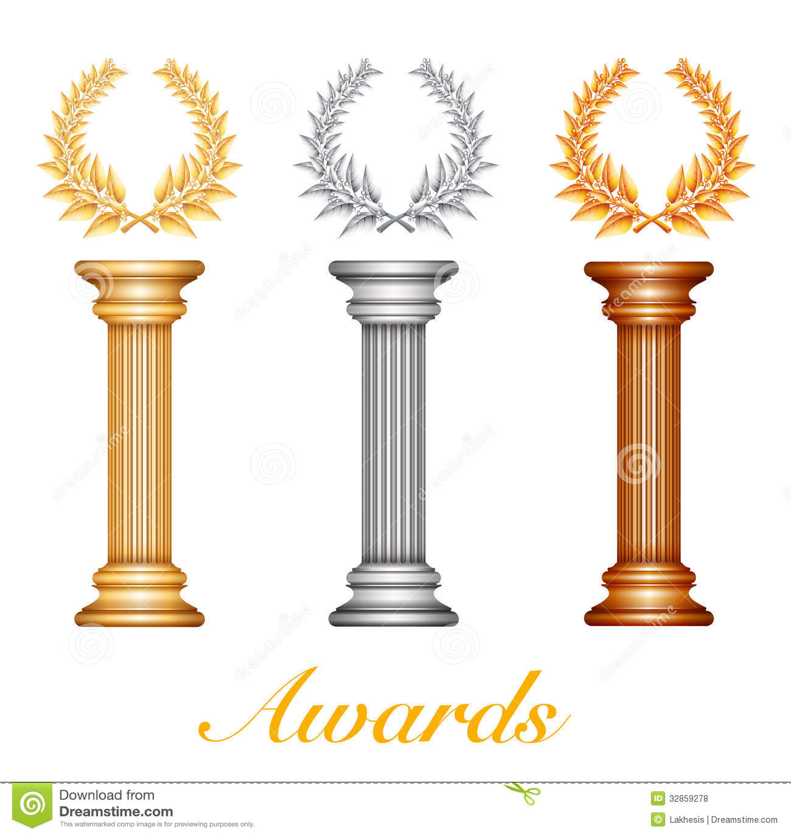 Gold Silver And Bronze Award Columns Stock Vector - Image ...