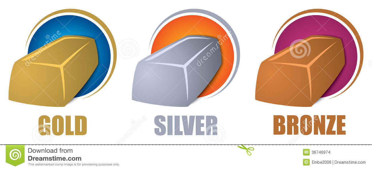 gold silver bronze bars stock images image 36746974