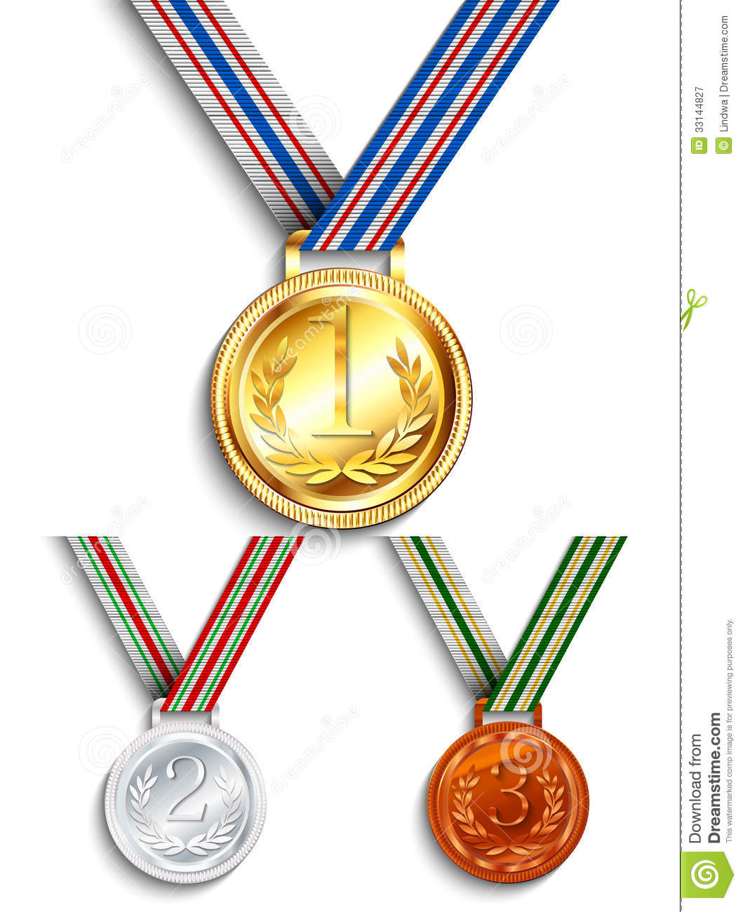Gold, Silver And Bronze Medal Stock Vector - Image: 33144827