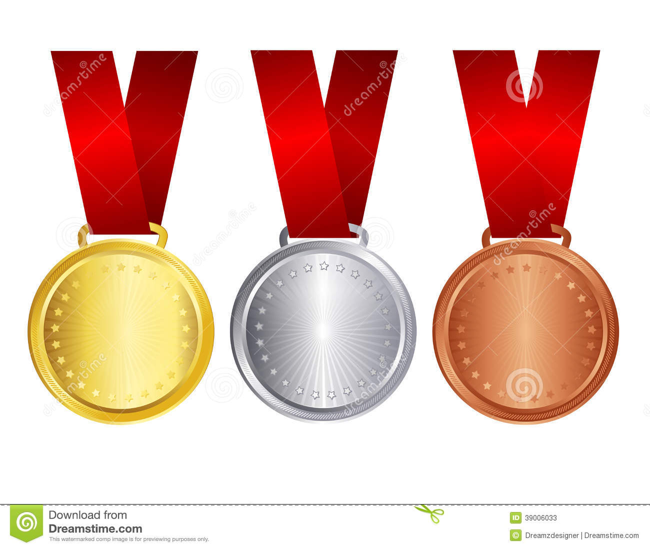 gold silver and bronze medal with red ribbon stock vector