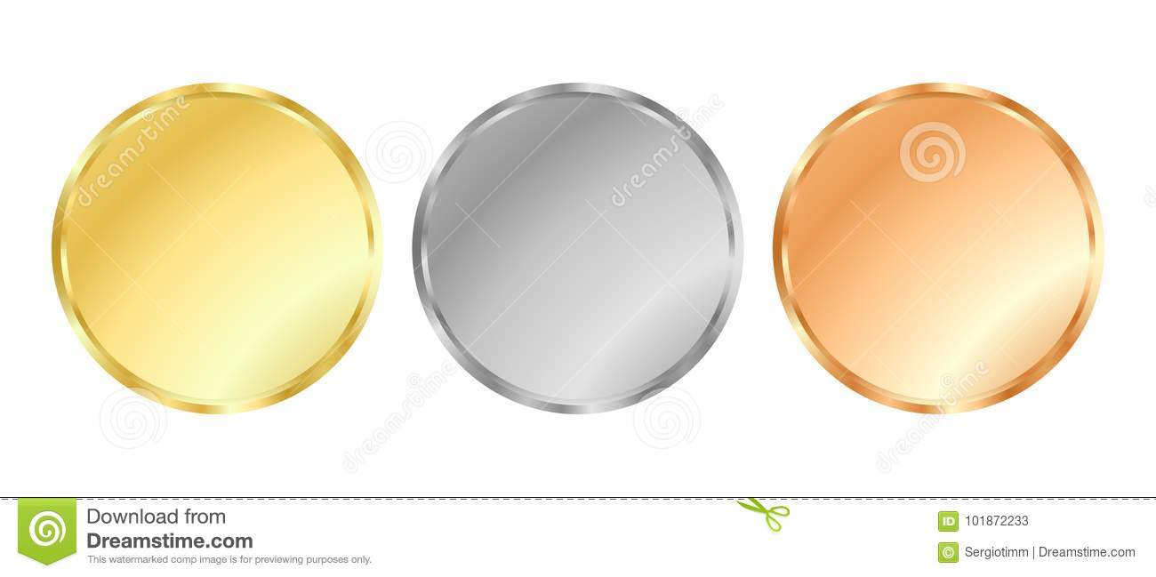 Gold, silver and bronze medal templates