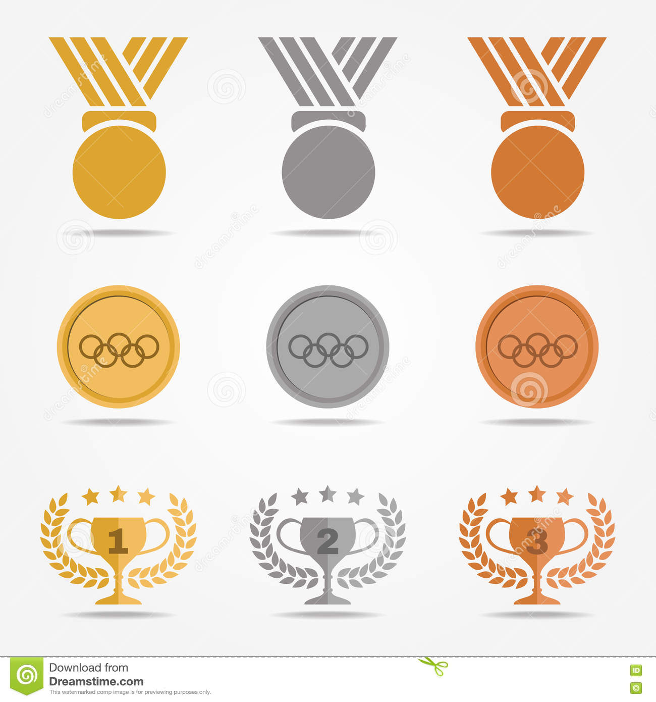 Gold Silver Bronze Medal And Trophies Olive Wreath Solid