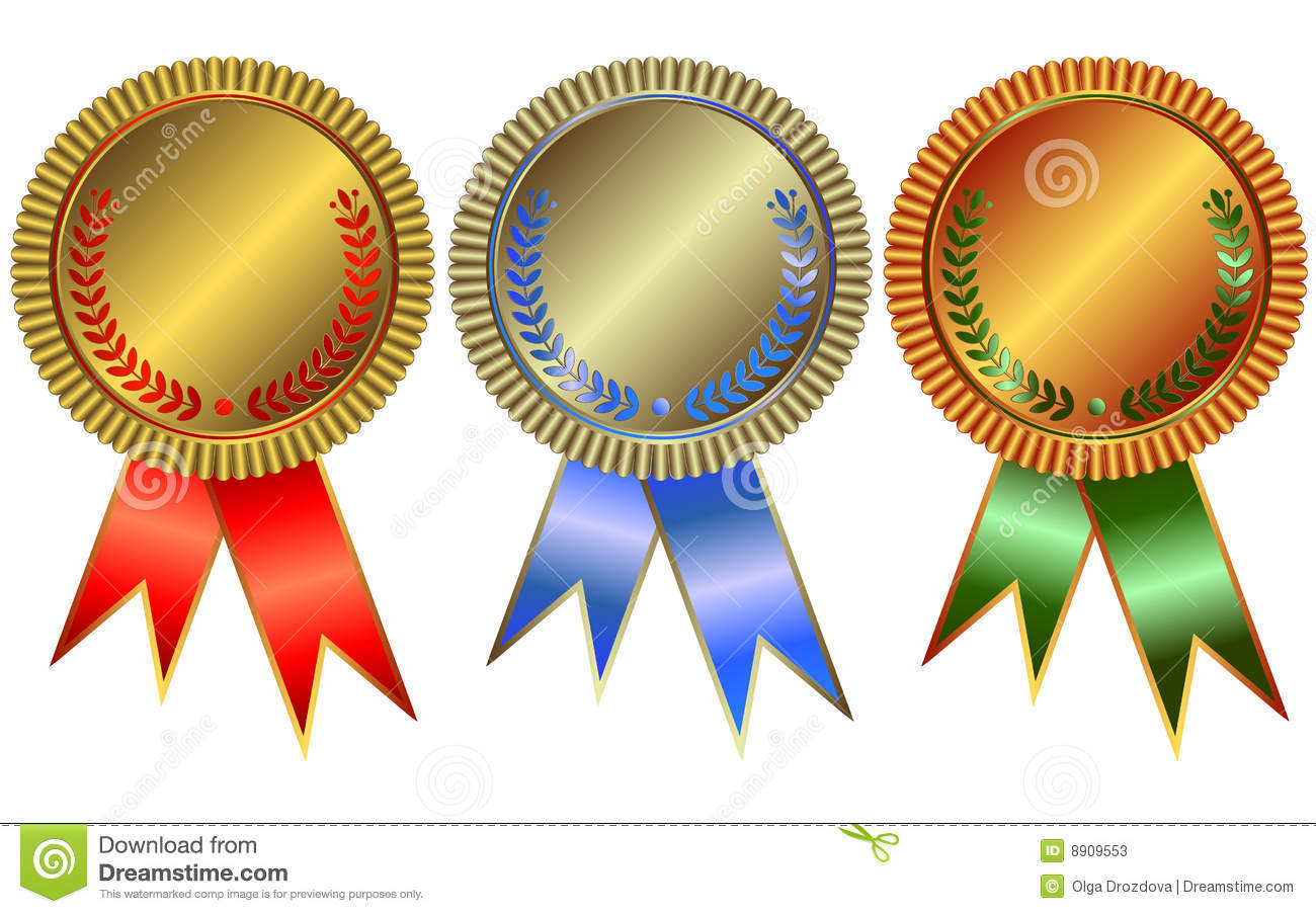 Gold, Silver And Bronze Medals Stock Vector
