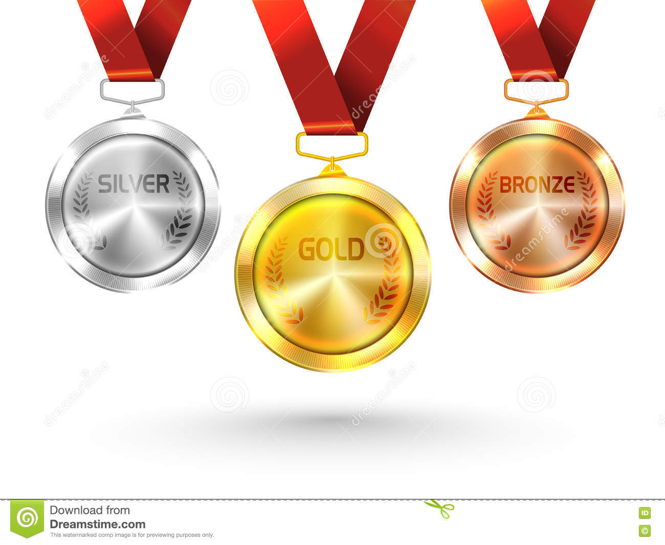 Gold, Silver And Bronze Medals For Olympic Games. Stock ...