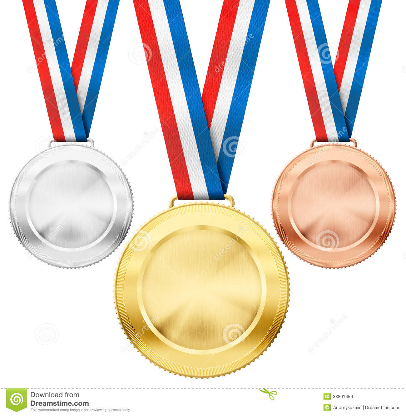 Gold Silver Bronze Medals With Tricolor Ribbons Stock