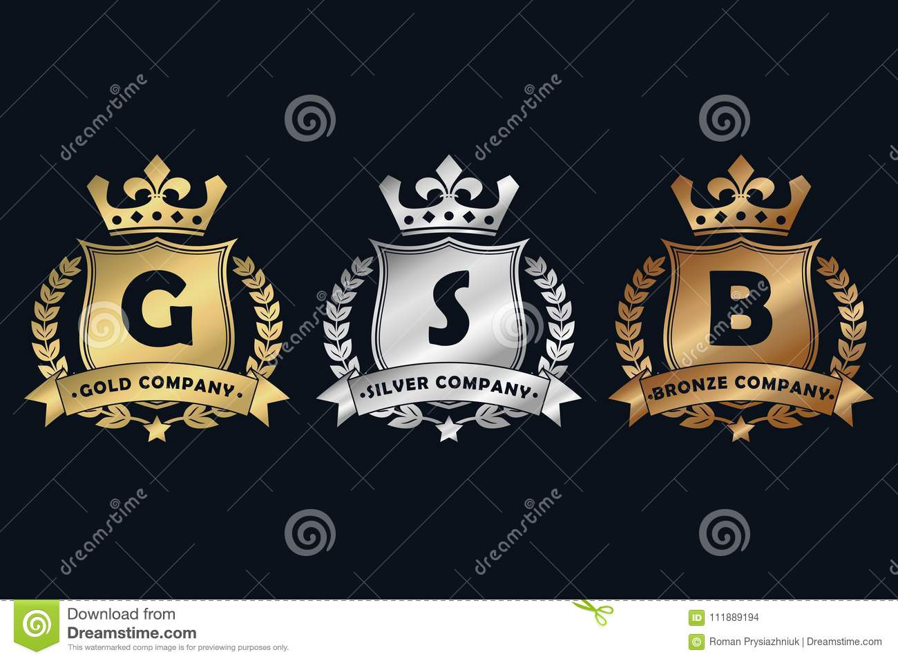 Gold Silver And Bronze Royal Design Logo With Shield Crown Laurel Wreath