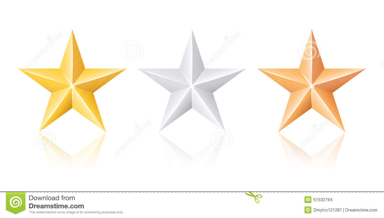 Gold Silver And Bronze Stars Stock Vector - Image: 51532794