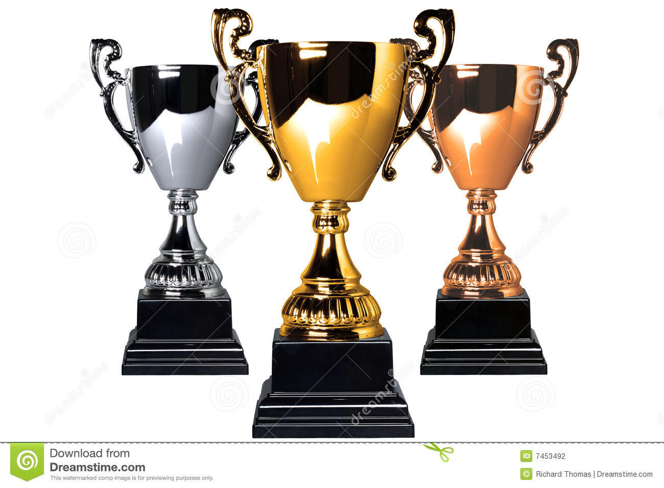 Gold Silver And Bronze Trophies Stock Photography Image