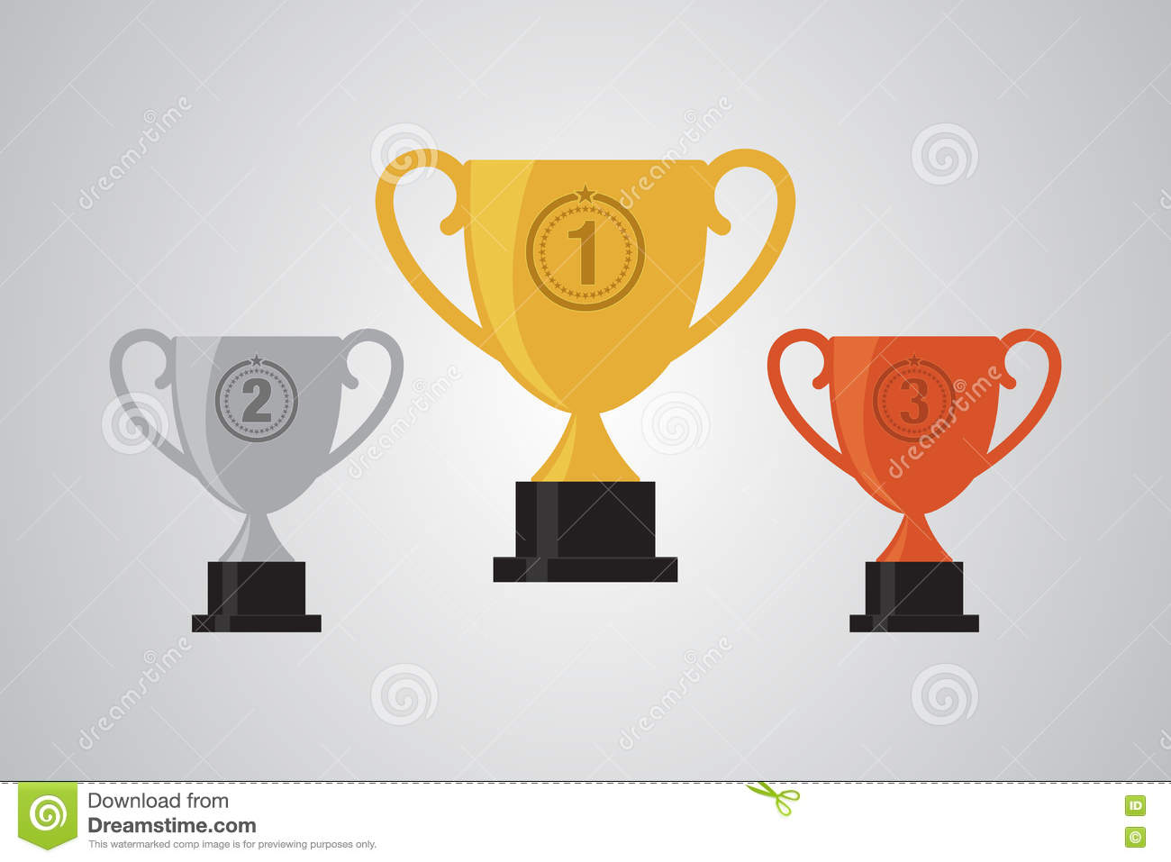 Gold Silver Bronze Winner Cup Trophy Flat Design Illustration