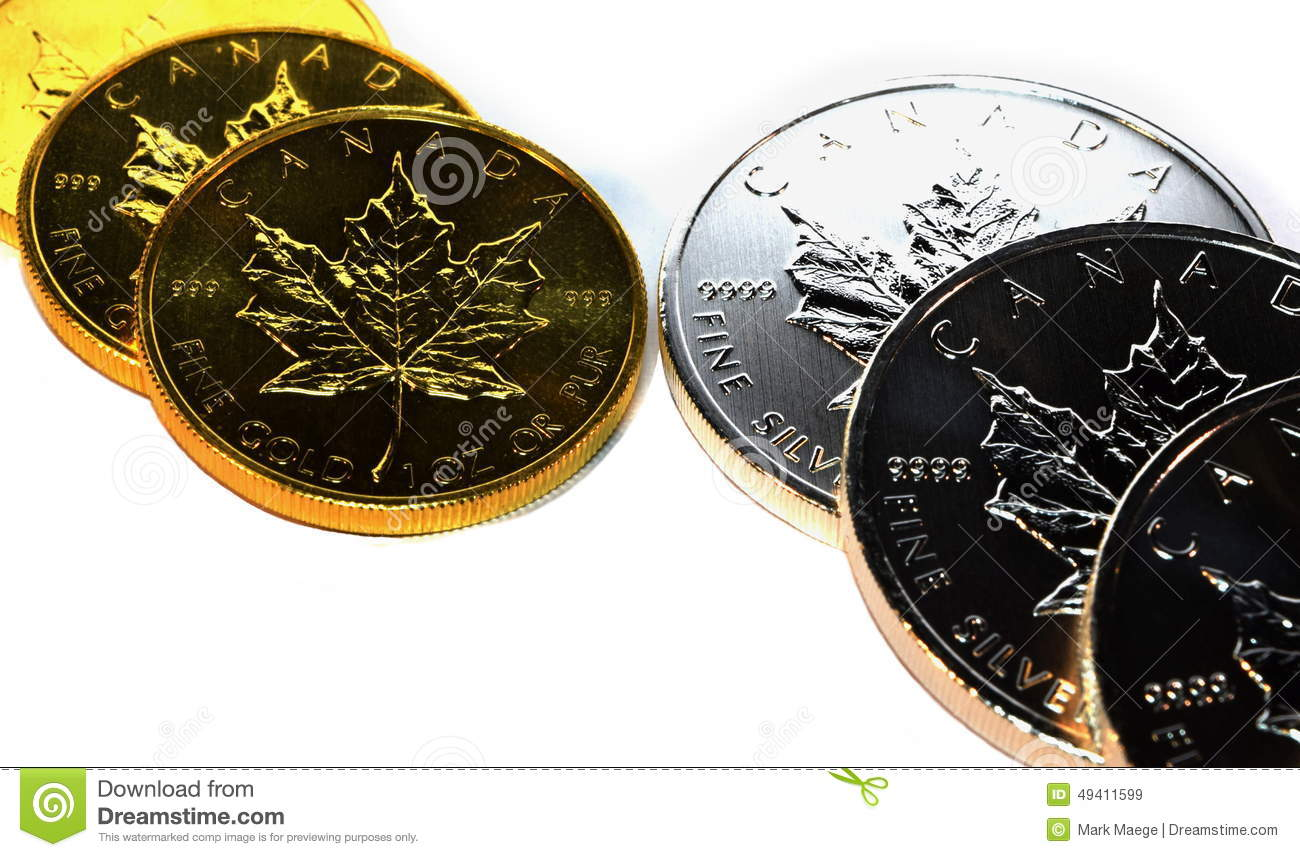 Precious Metals Money Gold Silver Maple Leaf Bullion Coins
