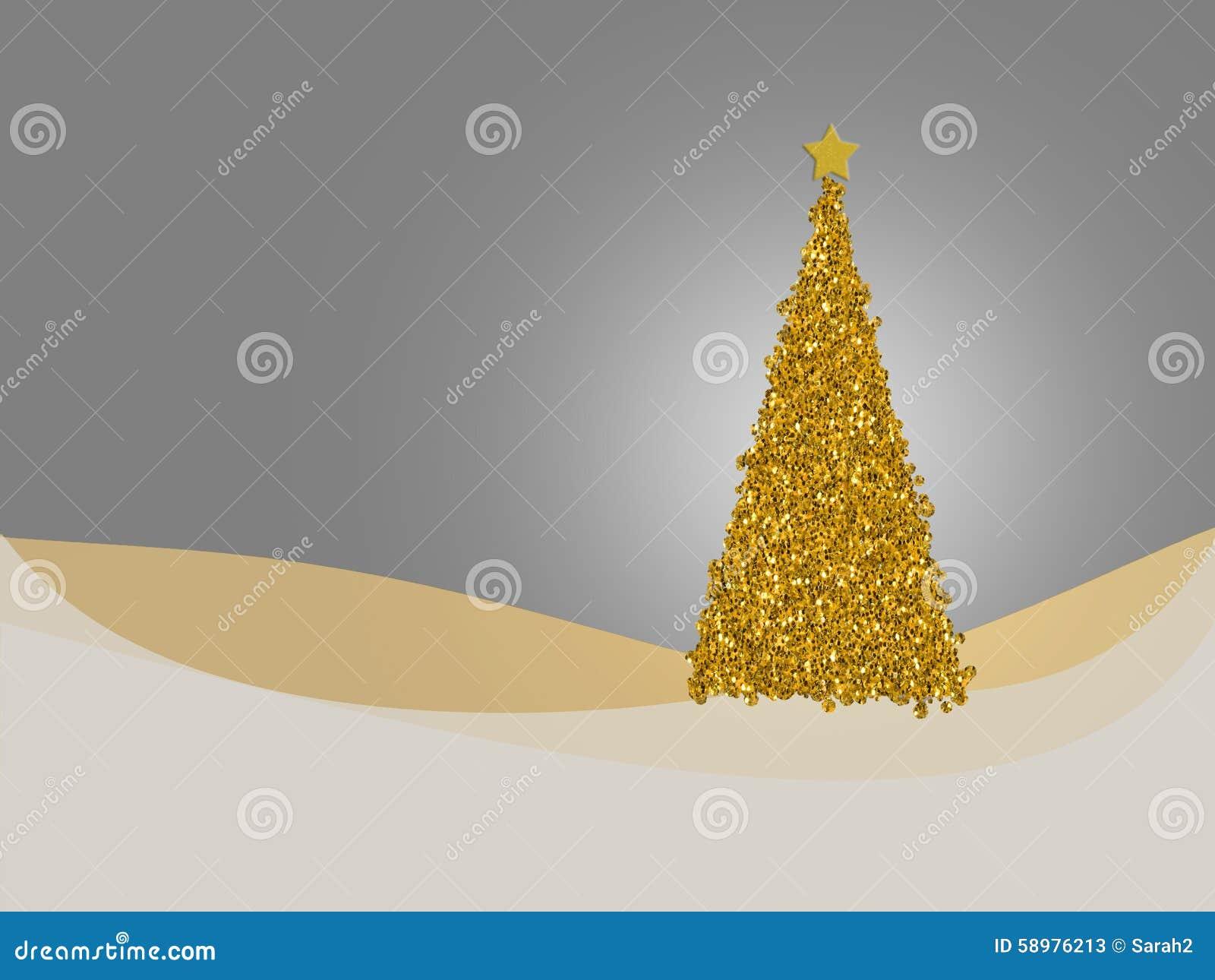 Gold And Silver Christmas Tree Card Seasonal Holiday Greetings