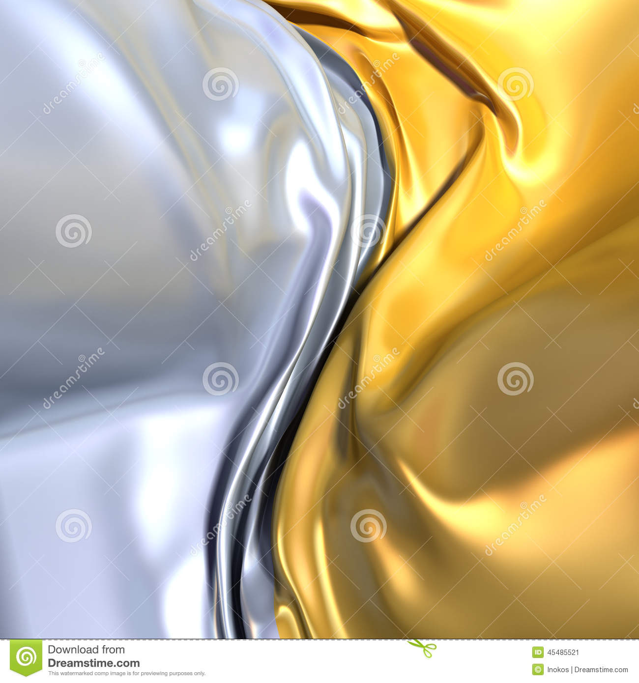 Gold And Silver Cloth Background Similar To Yin Yang Symbol Stock