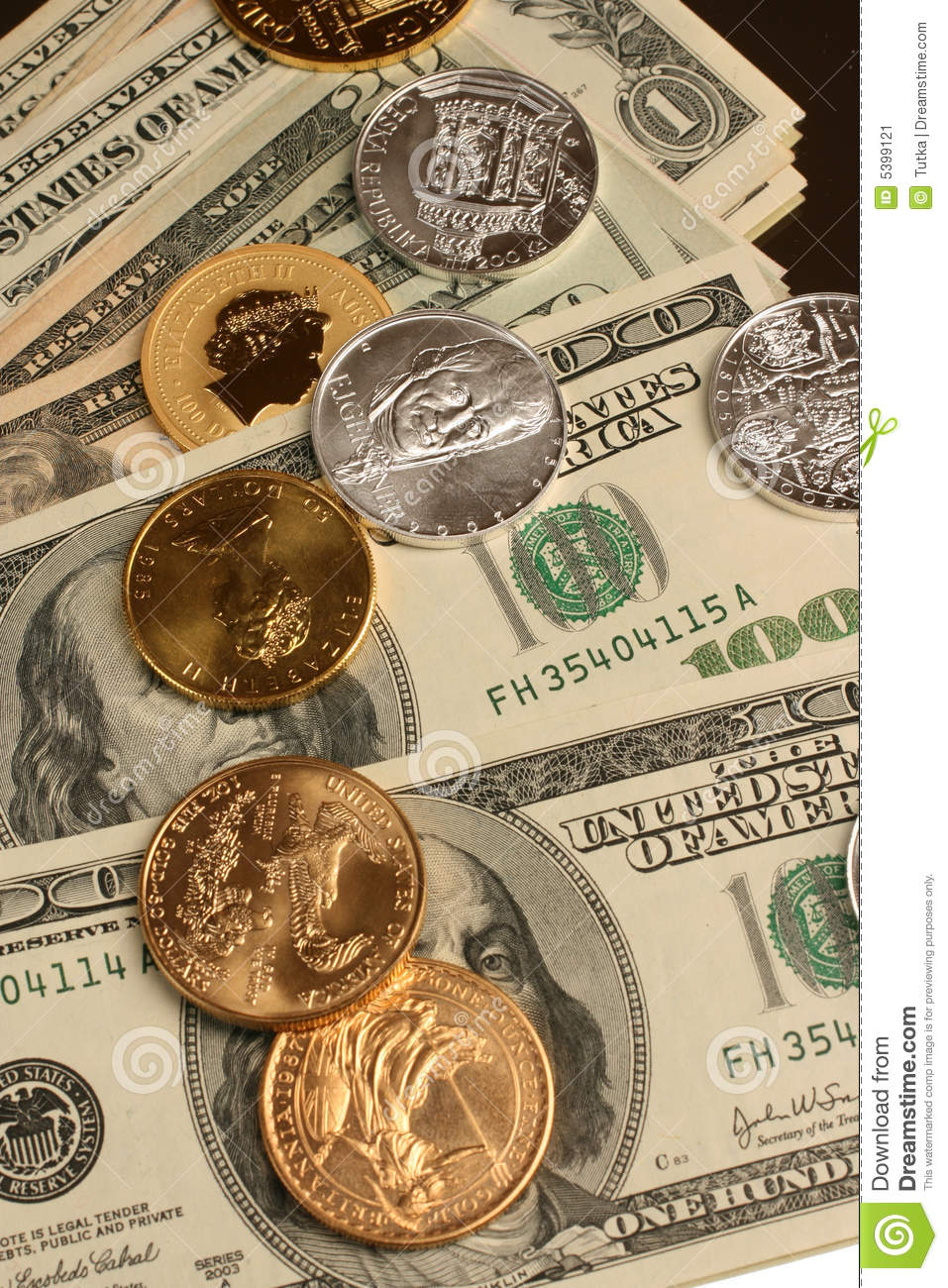 Gold And Silver Coins And Paper Money Stock Image - Image: 5399121