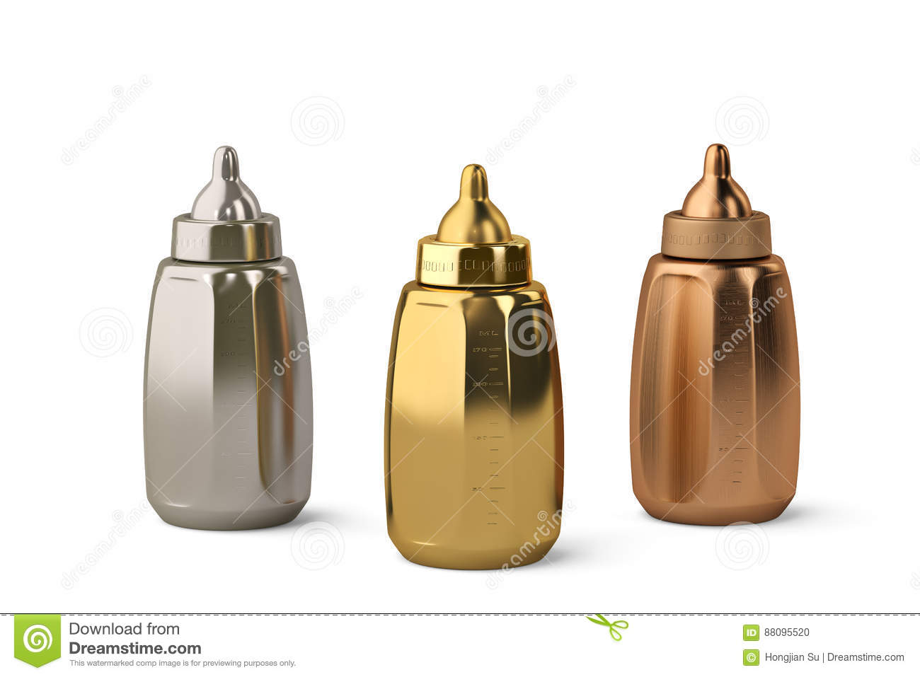 Gold And Copper : Gold silver and copper three baby bottles on white background