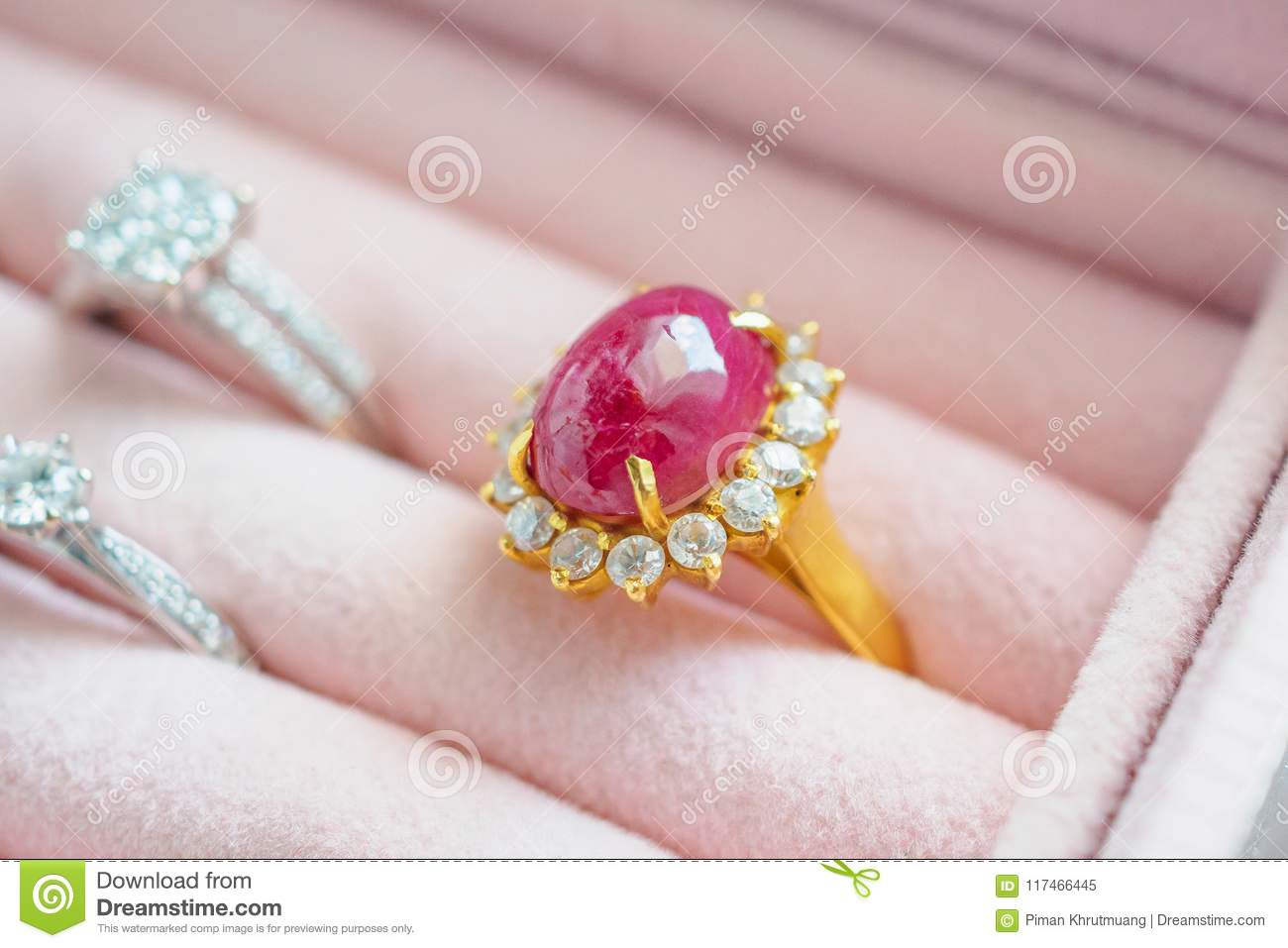Gold And Silver Diamond Ruby Gemstone Ring In Jewelry Box Stock ...