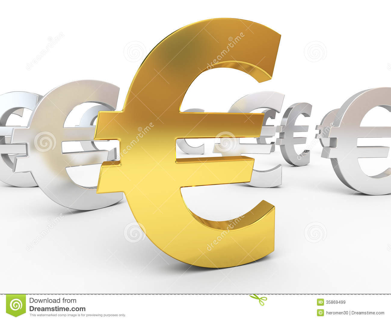 Gold and silver euro signs stock illustration ...