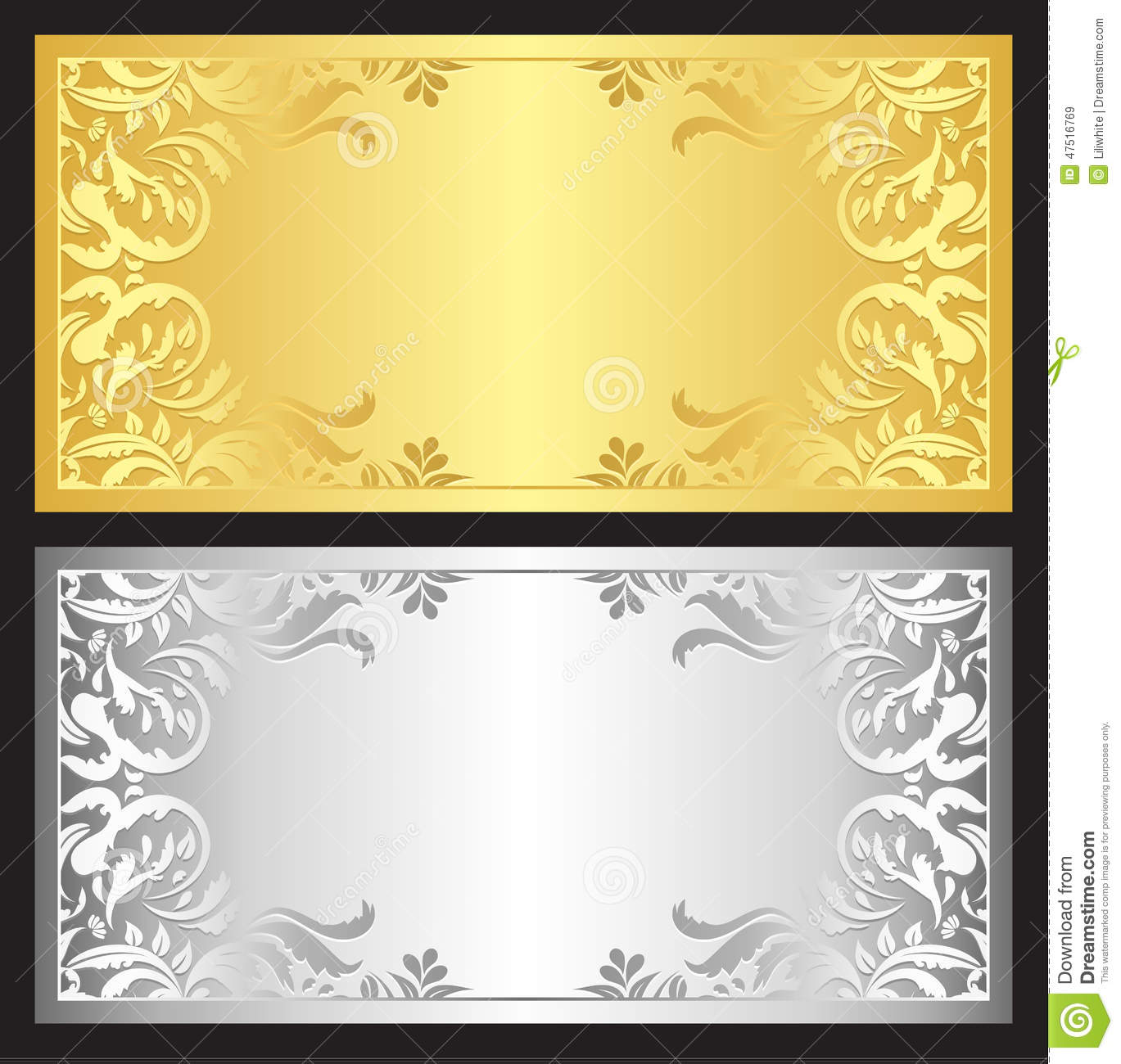 Gold And Silver Gift Coupon With Damask Ornament Stock ...