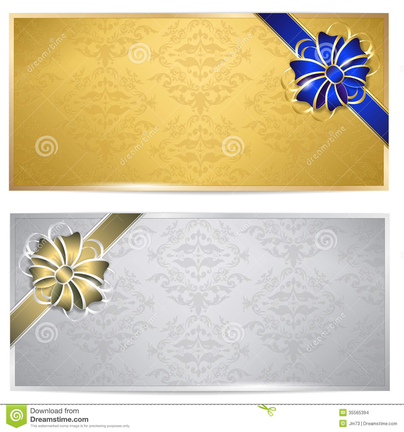 Gold And Silver Gift Voucher Stock Vector - Illustration ...