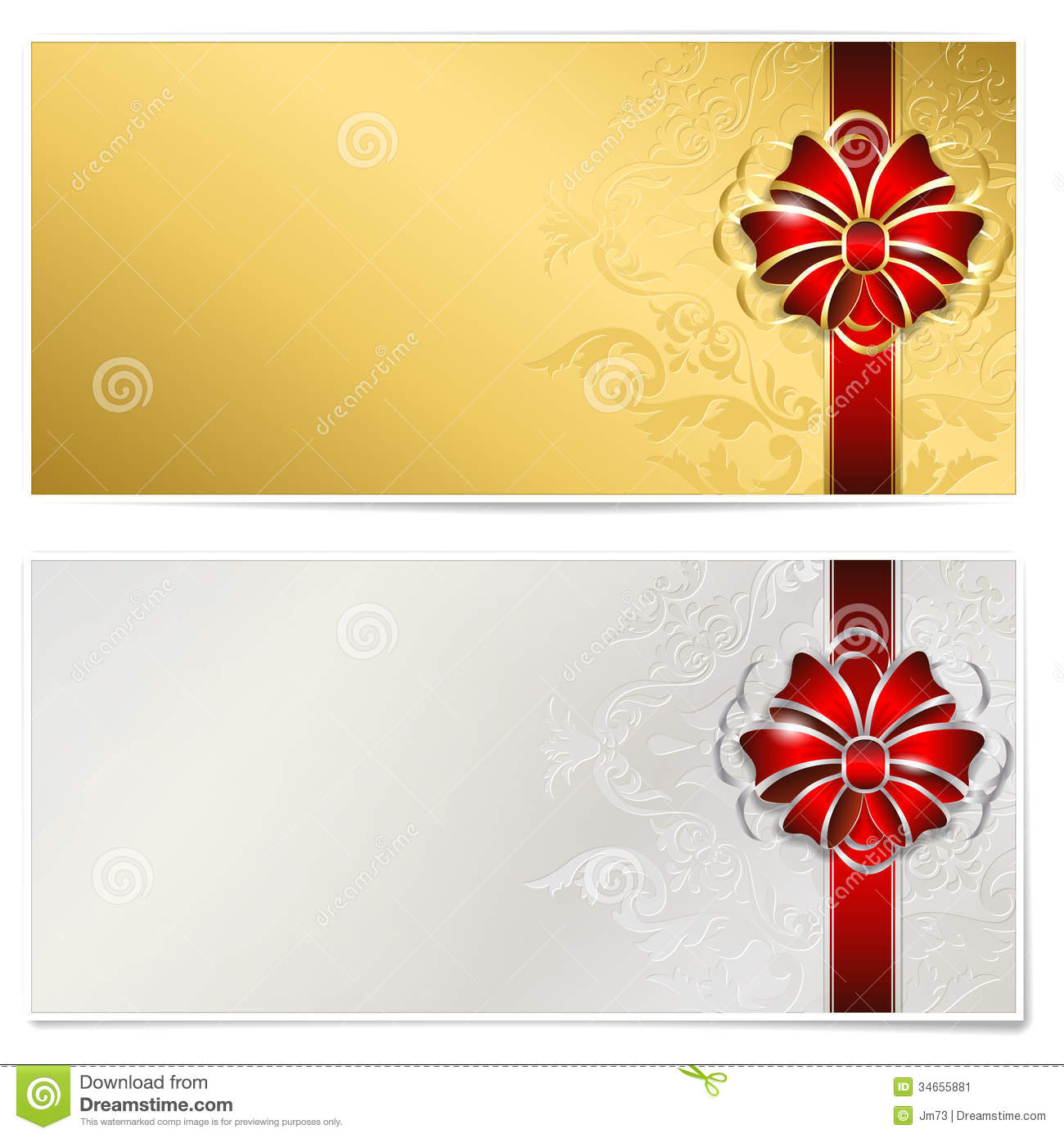 Gold And Silver Gift Voucher Stock Vector Image 34655881