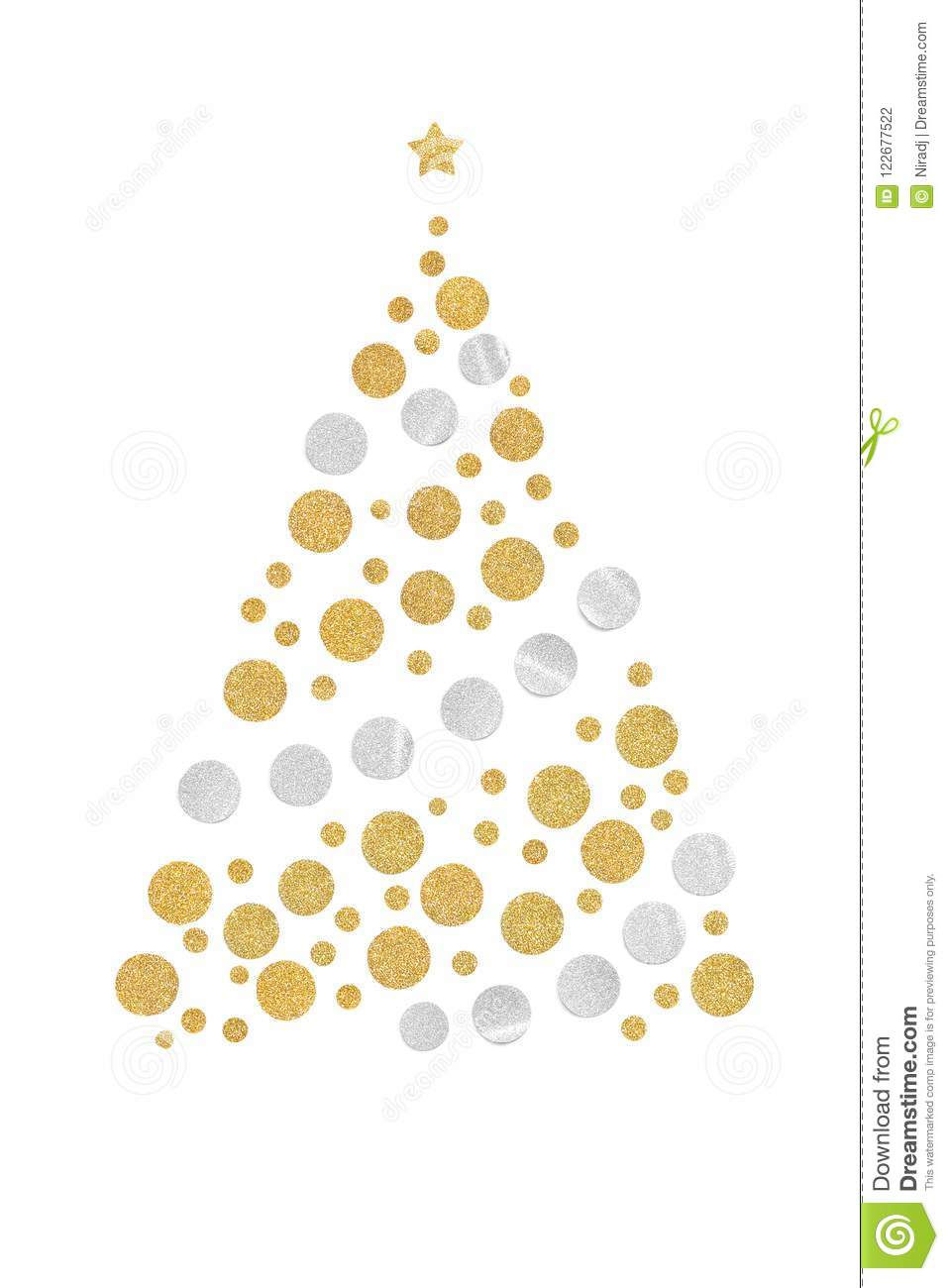 Gold and silver glitter christmas tree paper cut on white background