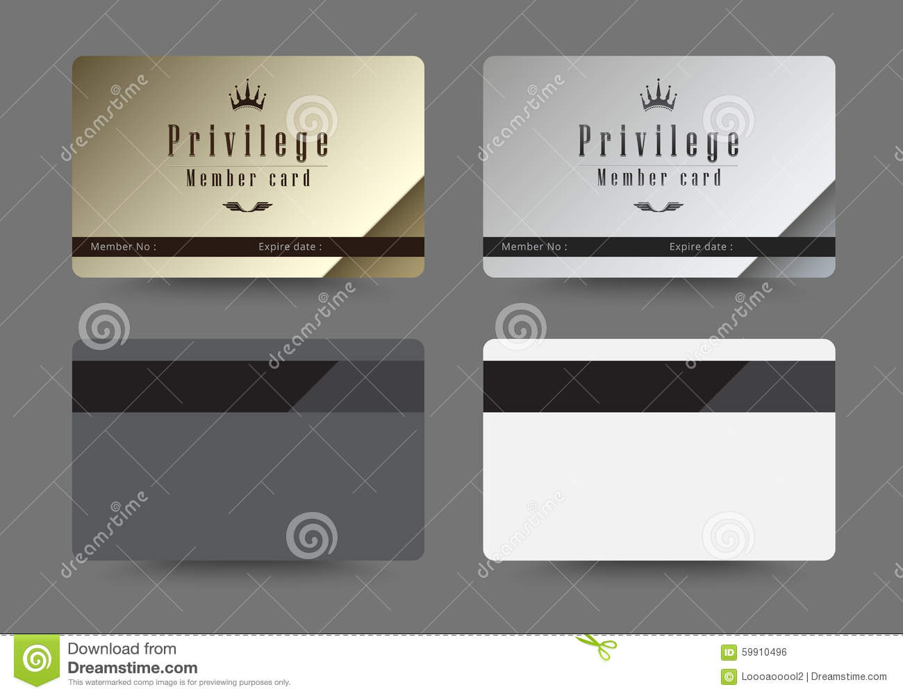 Gold And Silver Privilege Card For Member Template Design Vecto