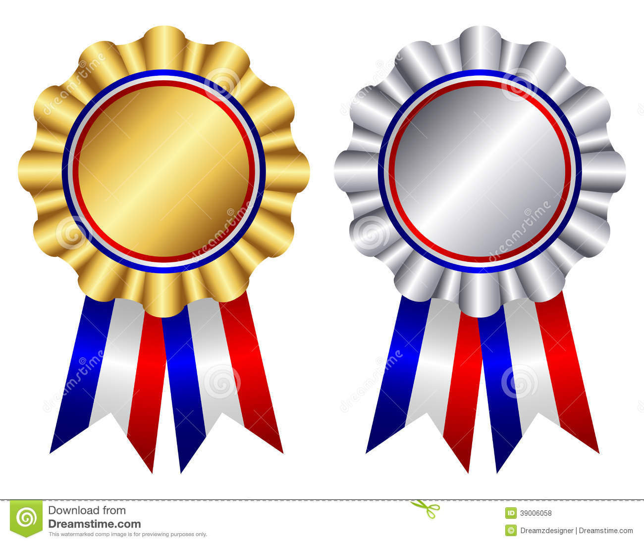 Gold and silver award ribbon rosettes with shiny red , white and blue ...