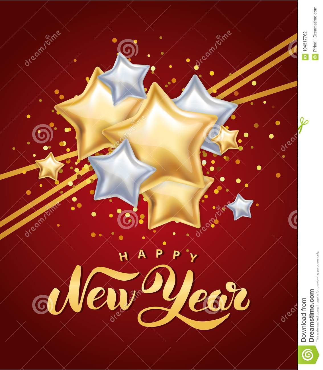 gold silver star happy new year greeting card invitation background event christmas banner with text party invitation celebration logo new year 2018