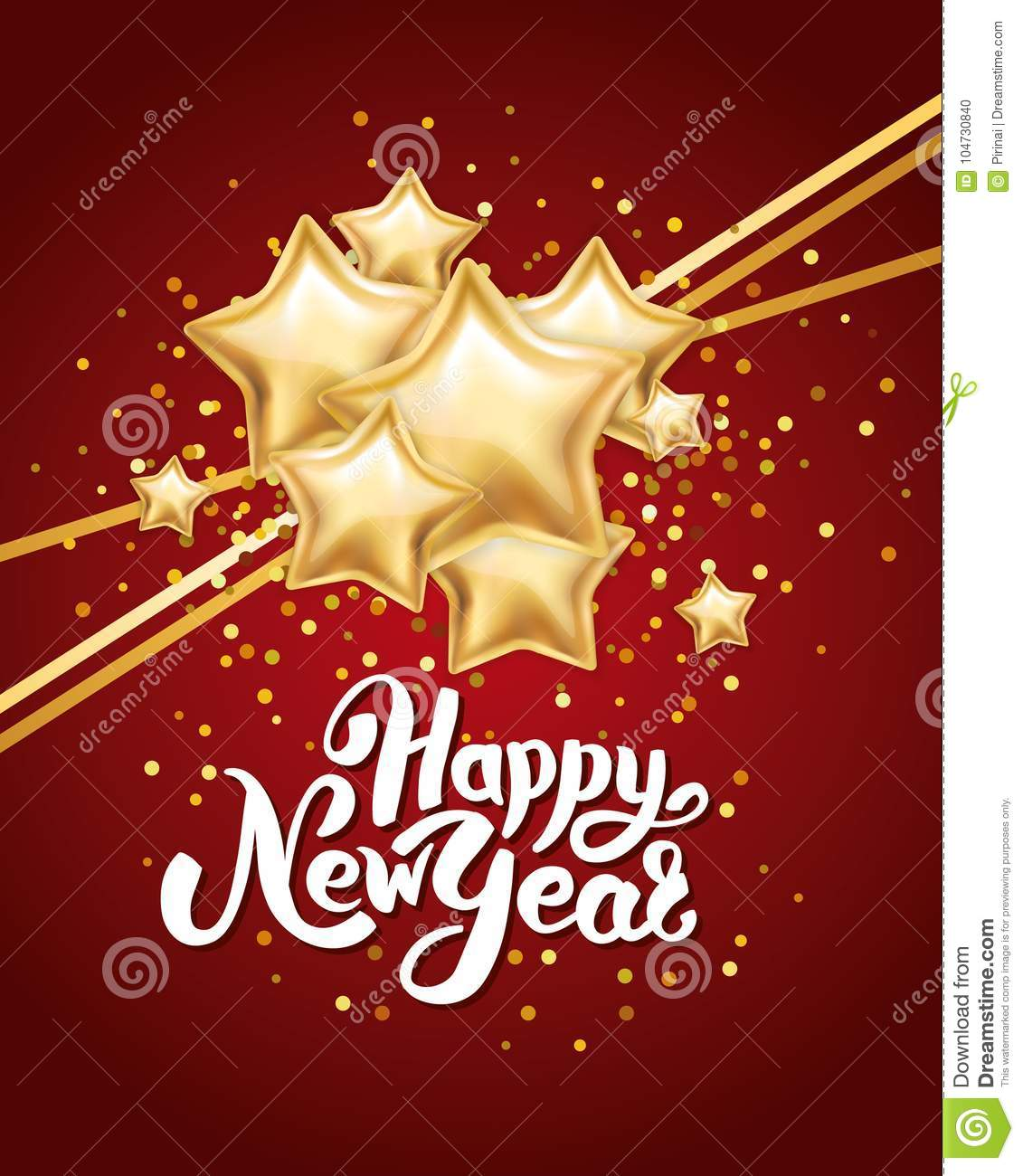 gold silver star happy new year