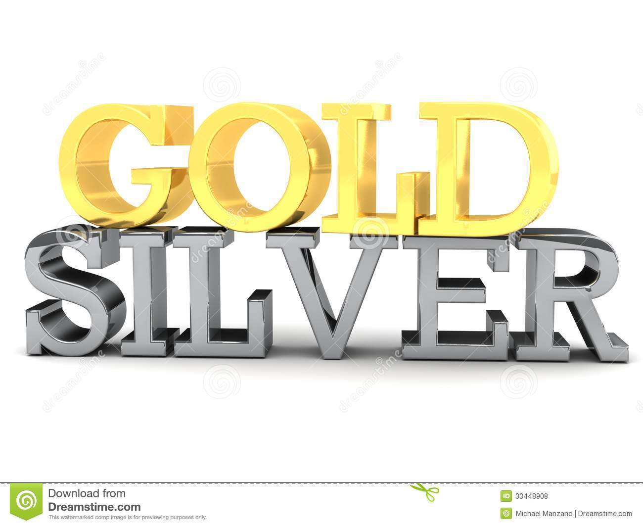 Word: Gold And Silver Word Lettering Royalty Free Stock Photos