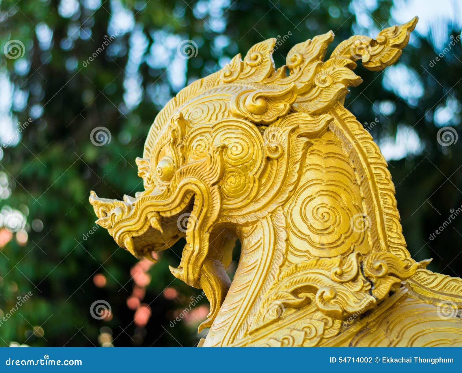 Nongkhai Thailand  city images : Gold singha head with background at wat pho chai nongkhai thailand.