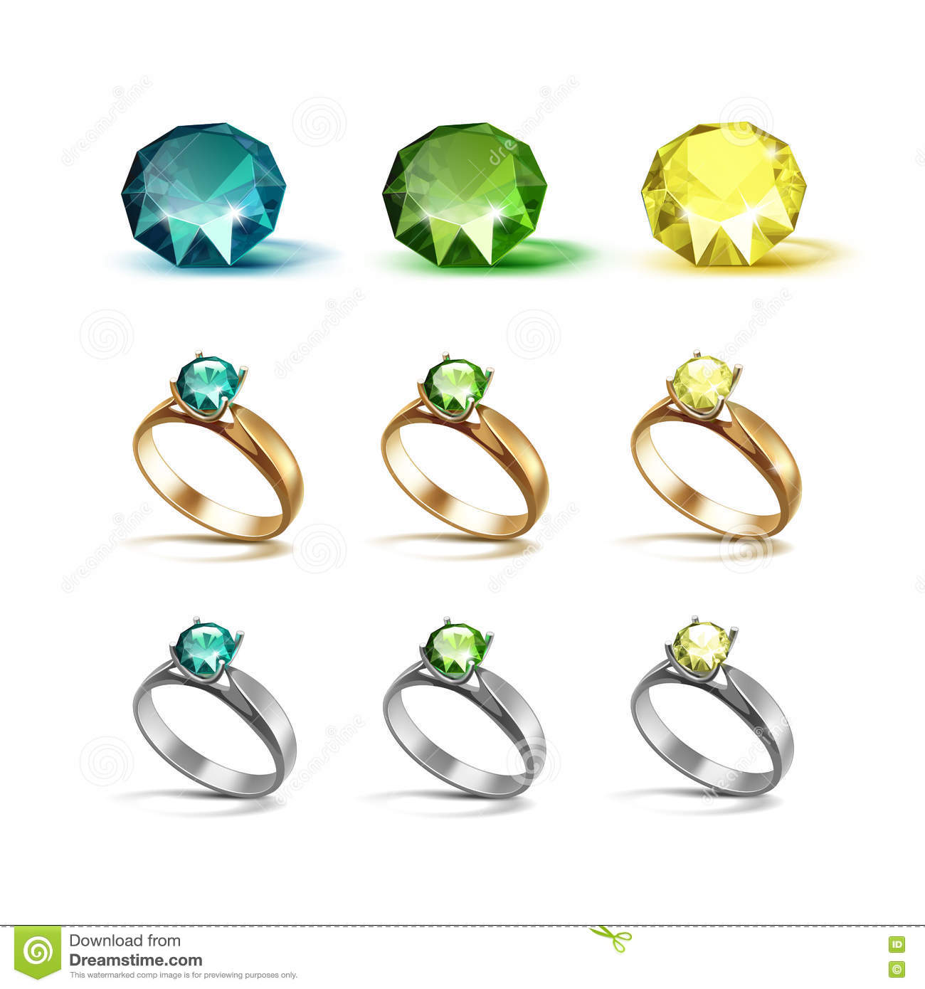 Gold Siver Engagement Rings With Emerald Green And Yellow Diamonds