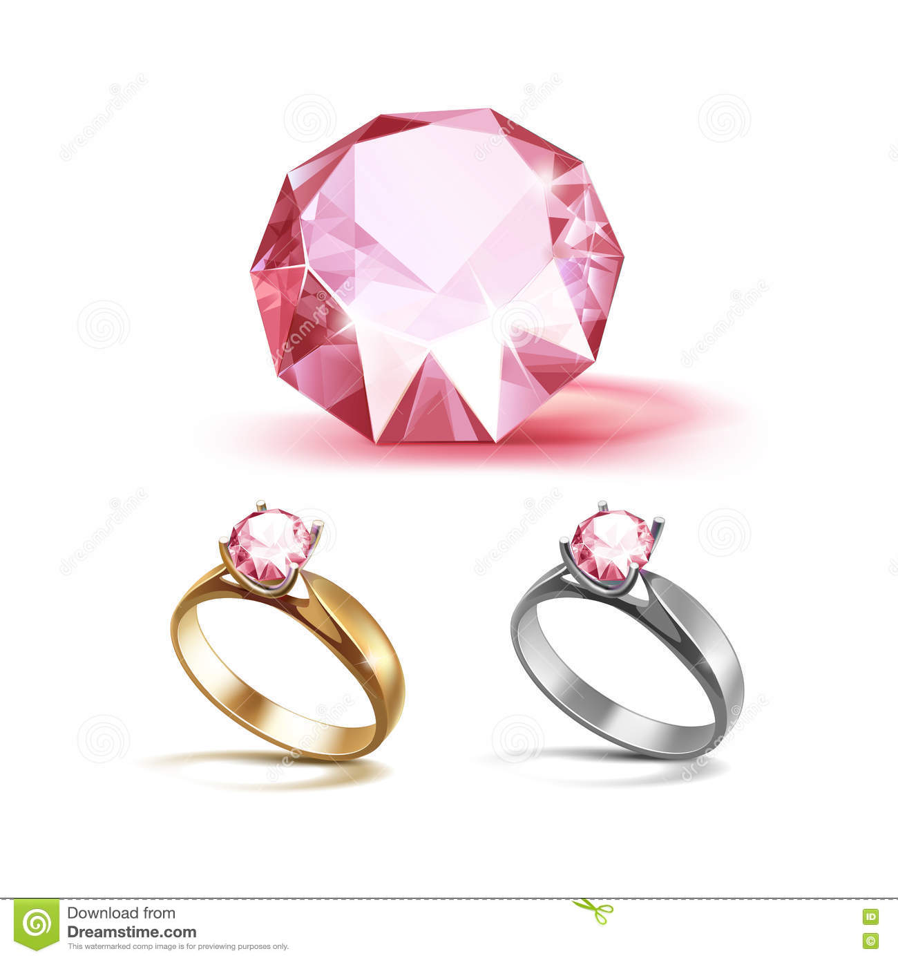 Gold And Siver Engagement Rings With Pink Shiny Clear Diamond Stock ...
