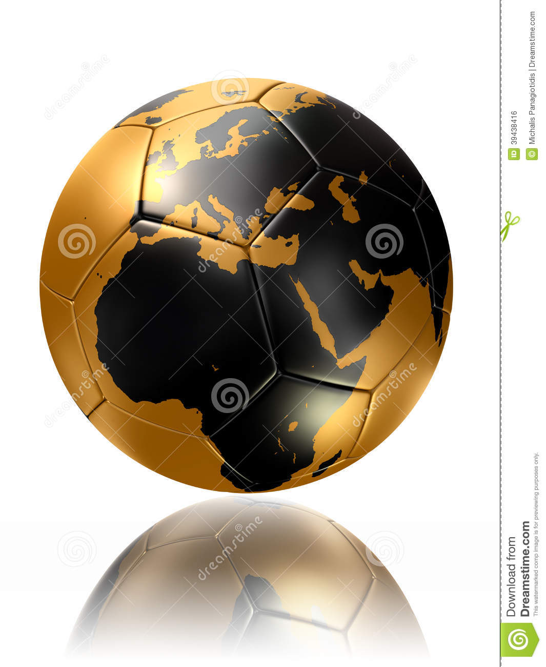Gold Soccer Ball Globe World Map Europe Africa Stock