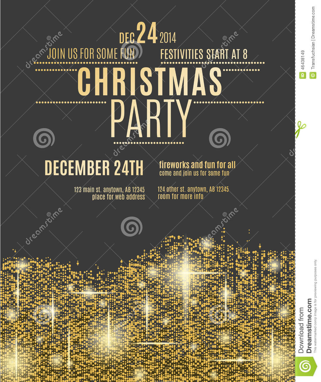 Gold Sparkle Christmas Party Flyer Template Stock Vector