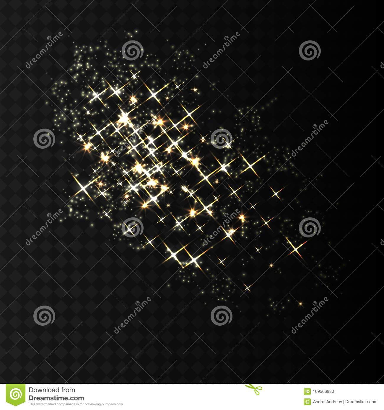 Gold sparkles and glittering powder spray. Sparkling glitter particles explosion on vector black transparent background.