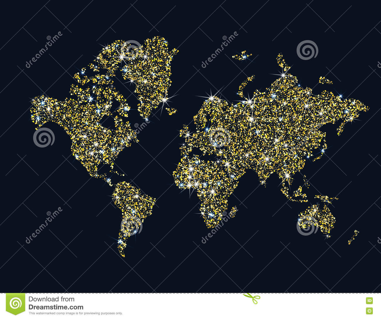Gold Sparkling World Map Royalty Free Stock Photos