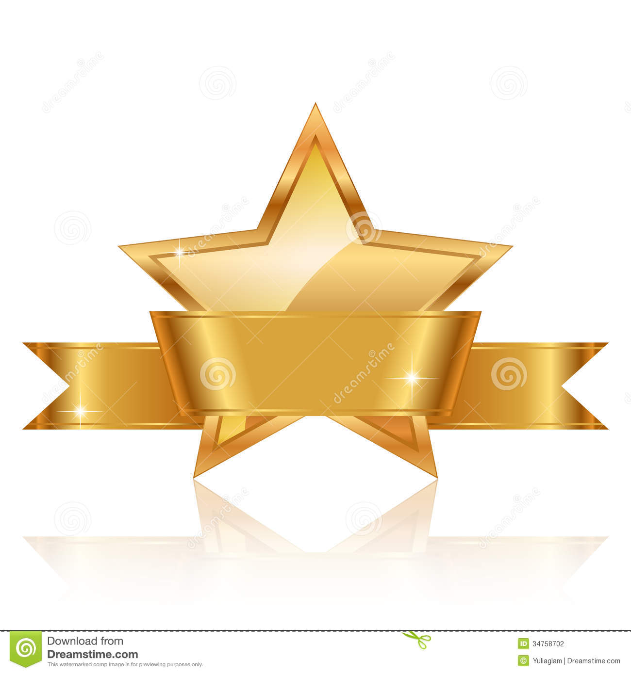 Gold Star Award With Shiny Ribbon With Sp Stock Vector