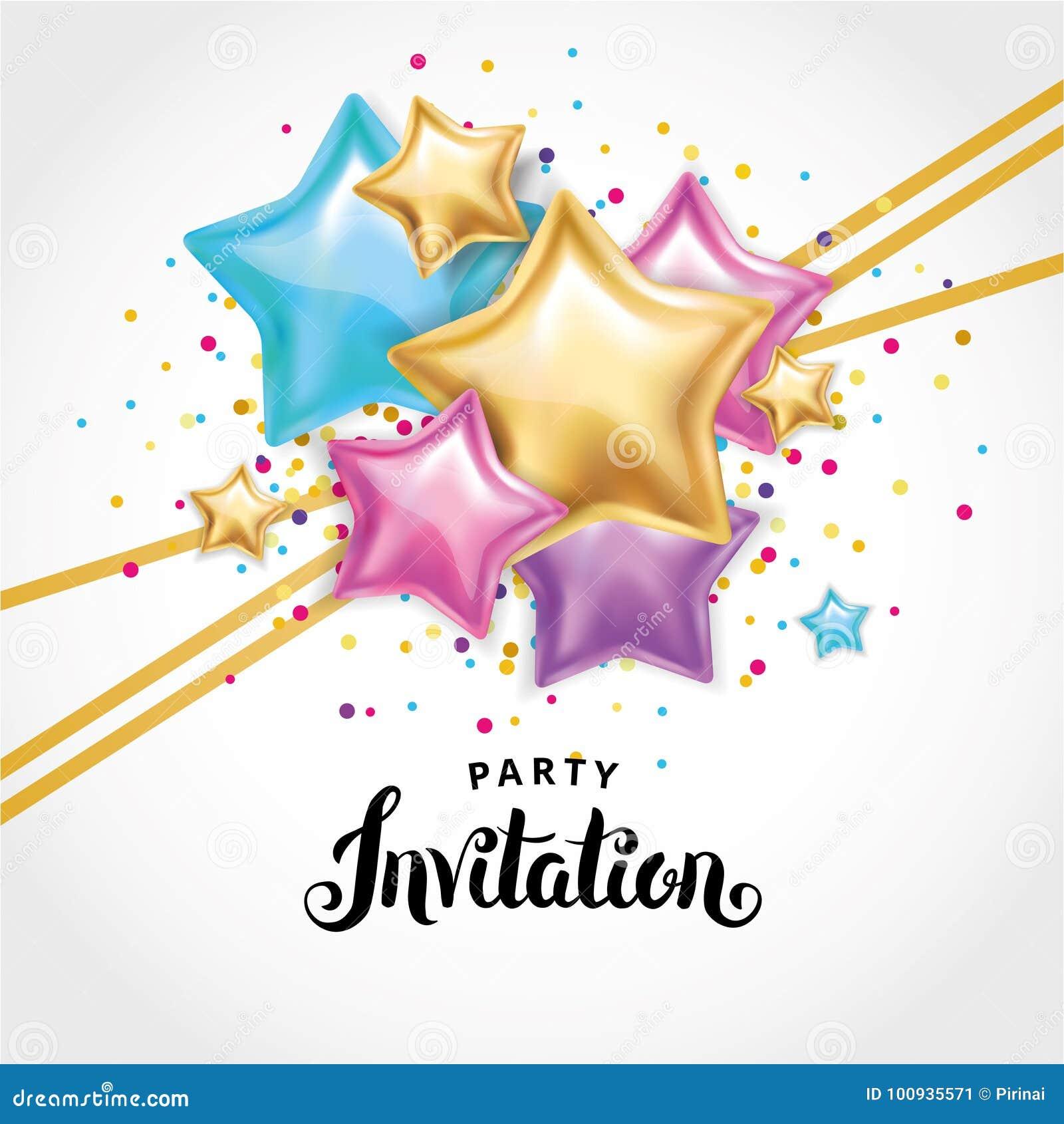 Gold Star Balloon Bouquet Invitation Stock Illustration