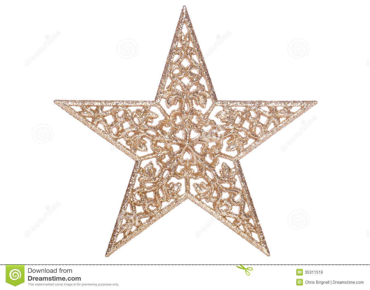 gold star christmas decoration cutout