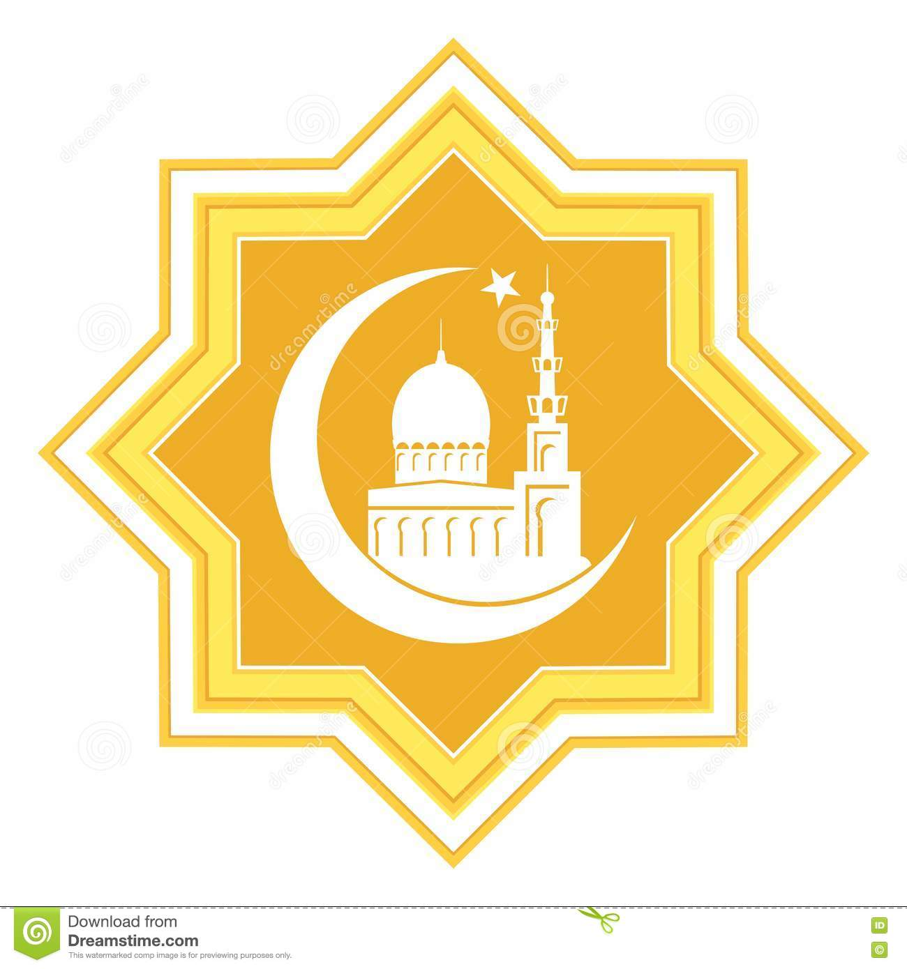 Gold star with islamic mosque stock vector illustration of gold star with islamic mosque kristyandbryce Images