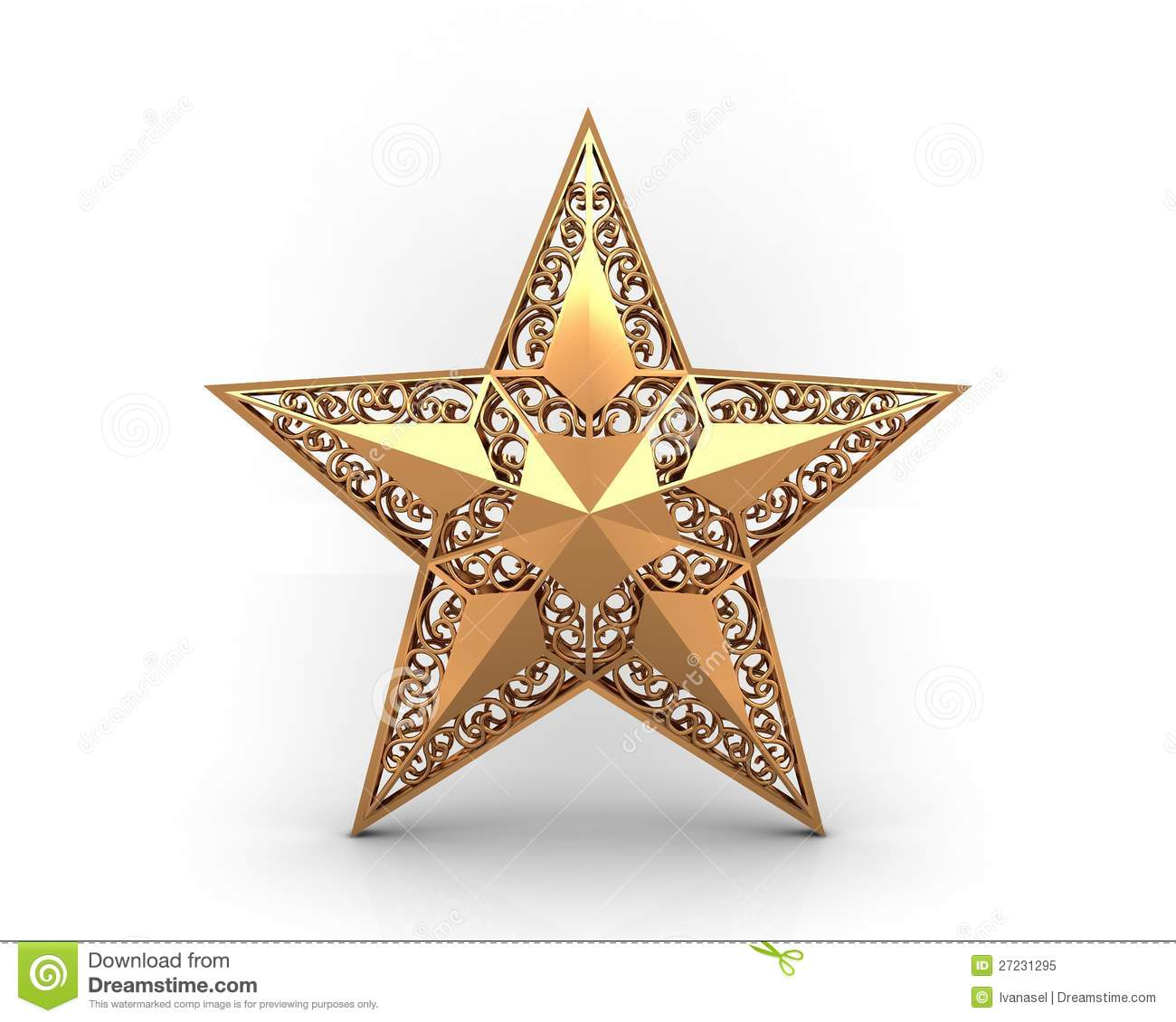 Gold star with ornaments royalty free stock photo image