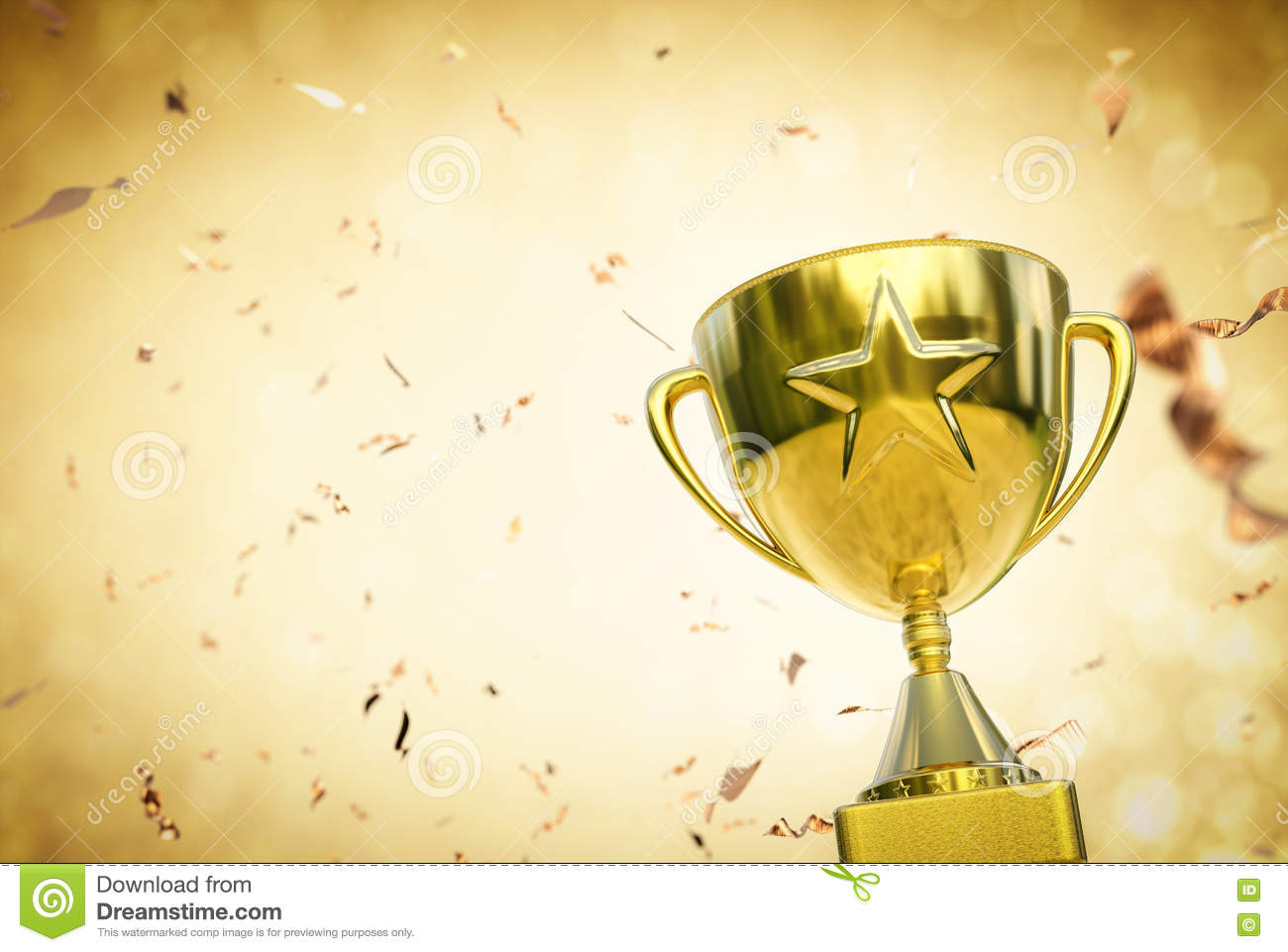 Gold Star Trophy On Glitter Background Stock Photo