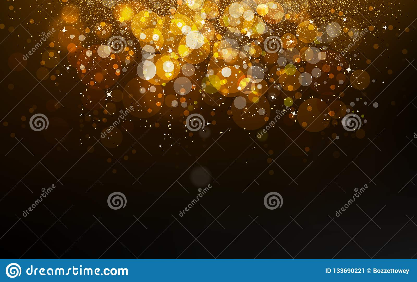 Gold stars falling confetti, dust, glowing particles scatter glitter blinking shine sparkle celebration award abstract background