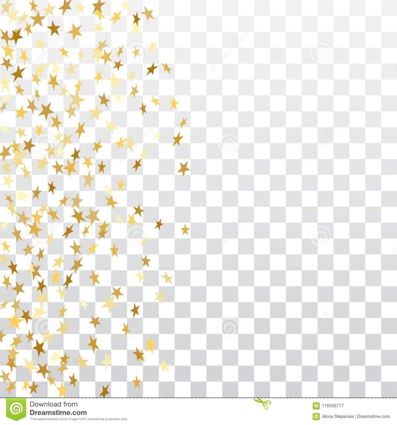 gold stars falling confetti frame isolated on transparent background golden abstract pattern christmas new