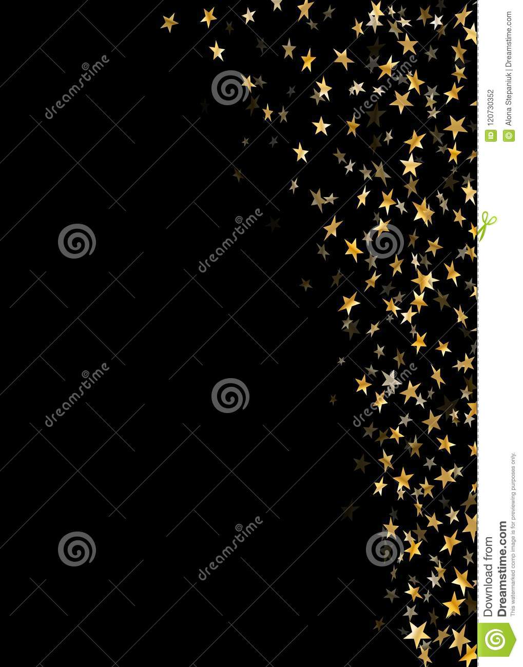 gold stars falling confetti isolated on black background golden abstract random pattern christmas card