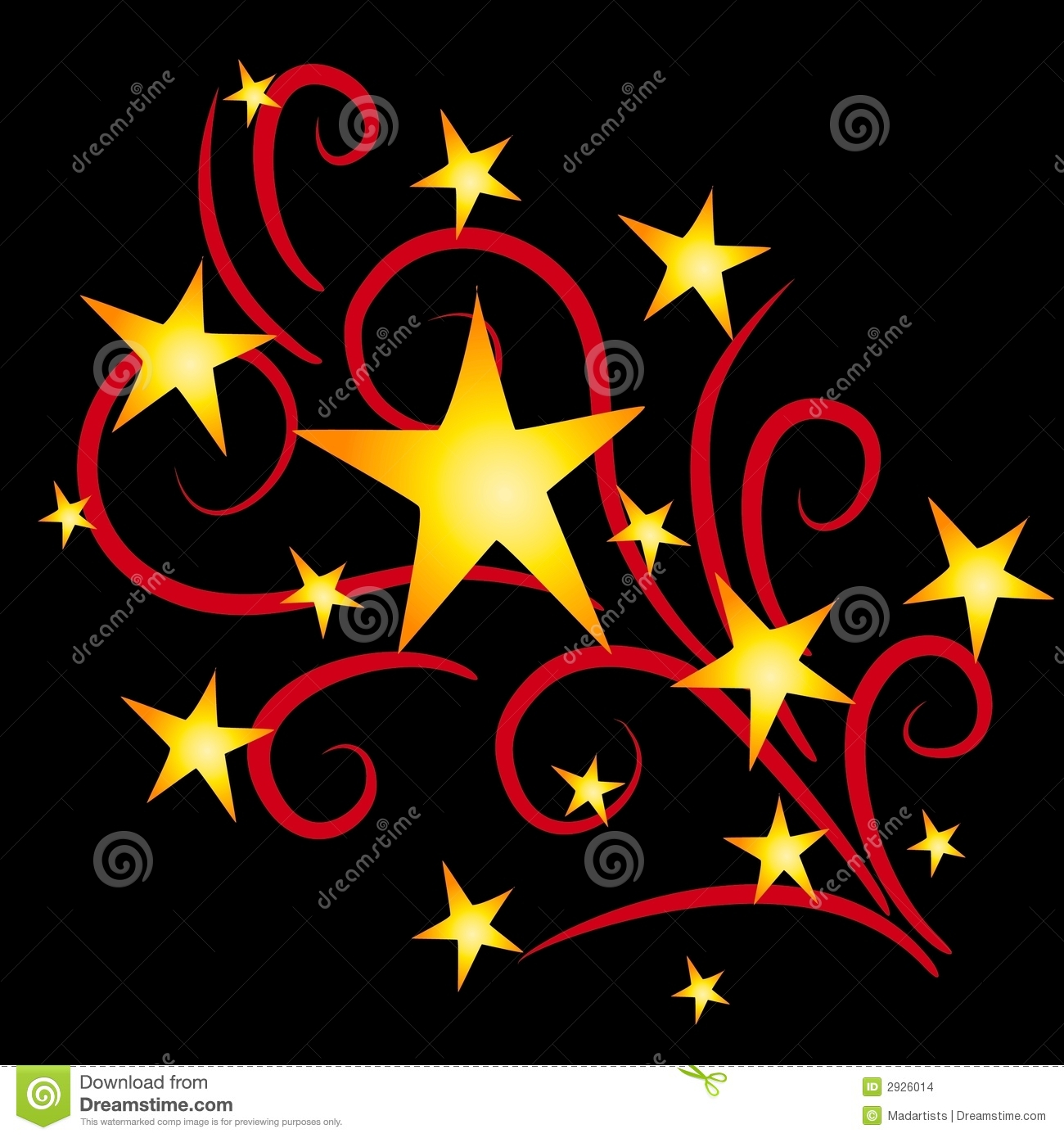 clip art illustration of shooting stars and fireworks exploding in ...