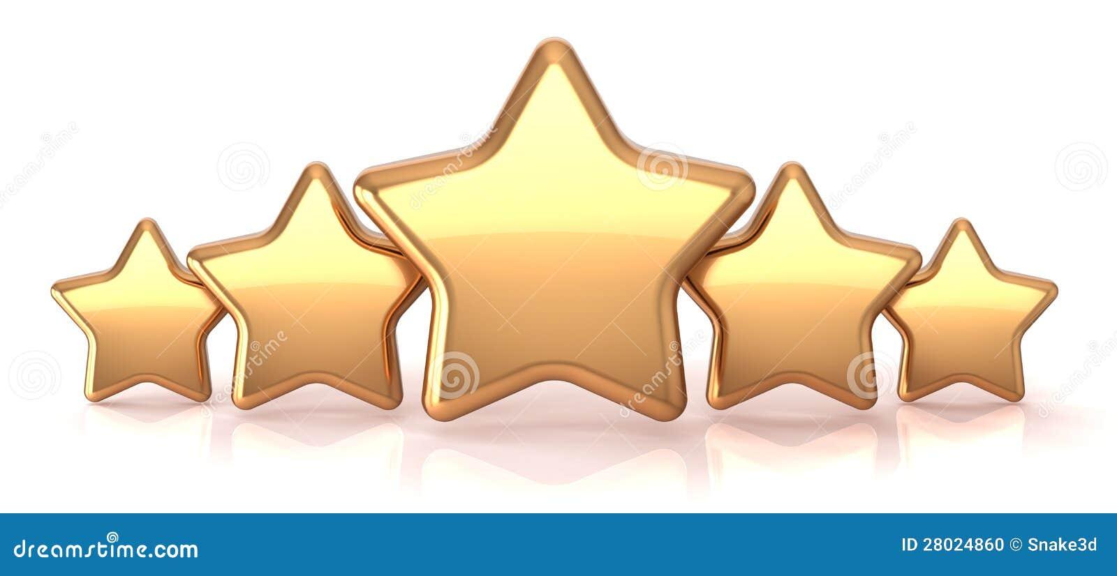 Gold stars five golden...