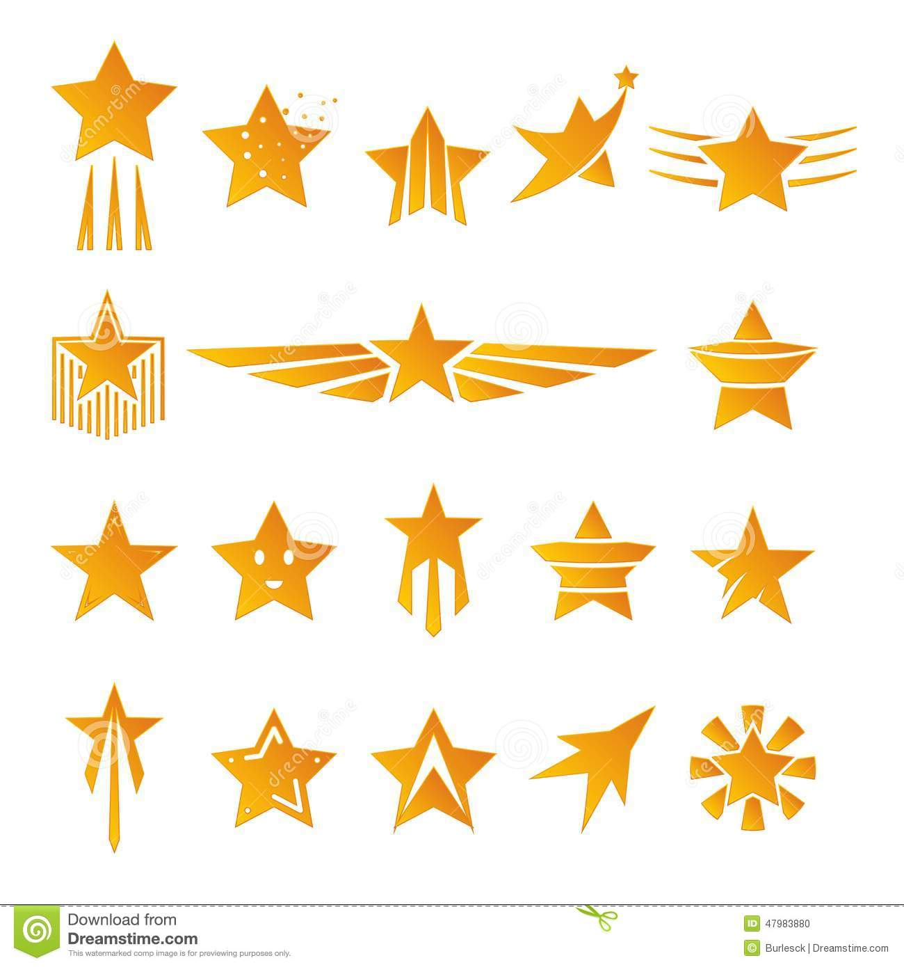 Gold Stars For Logos And Emblems Stock Vector - Image: 47983880