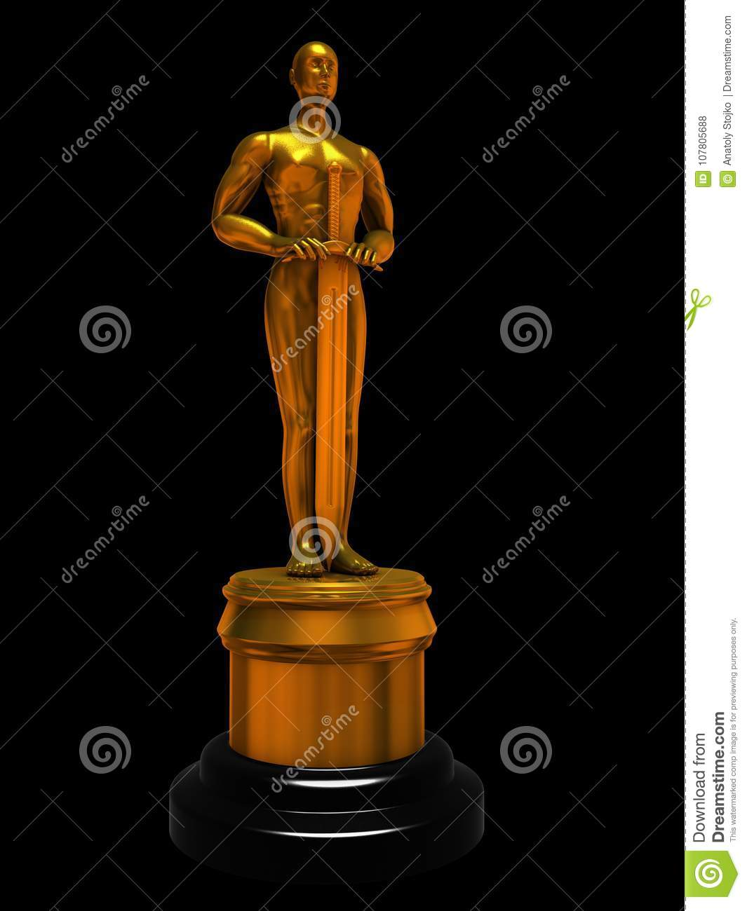 Gold statuette of man isolated on black